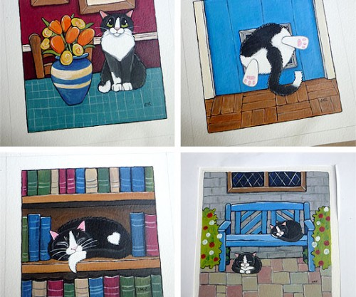 Whitby Galleries cat paintings October 2011 © Lisa Marie Robinson