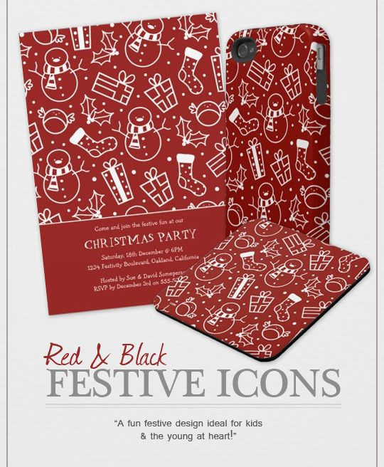 Red and White Festive Icons Product Range by Lisa Marie Robinson