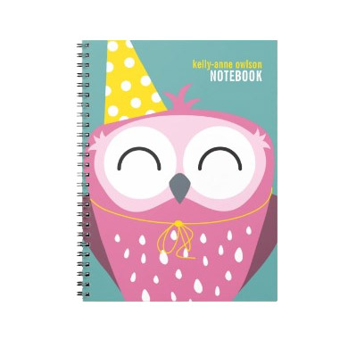 Today's Best - Pink Party Owl Notebook