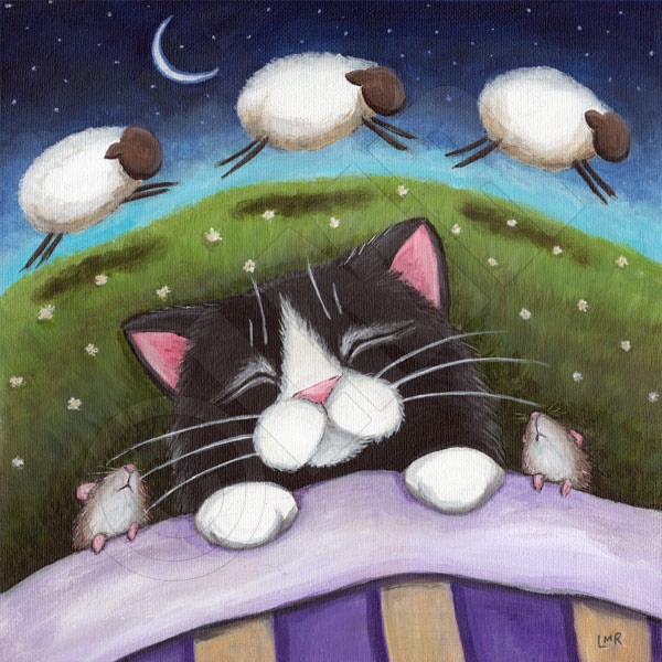 Sheep Dreams - Cat Art by Lisa Marie Robinson