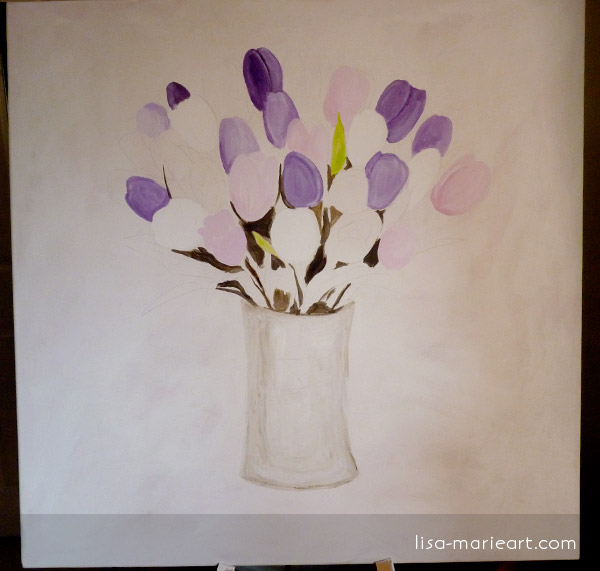 Tulips in a Glass Vase Step by Step 1