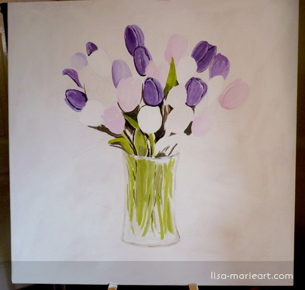 Tulips in a Glass Vase Step by Step 2