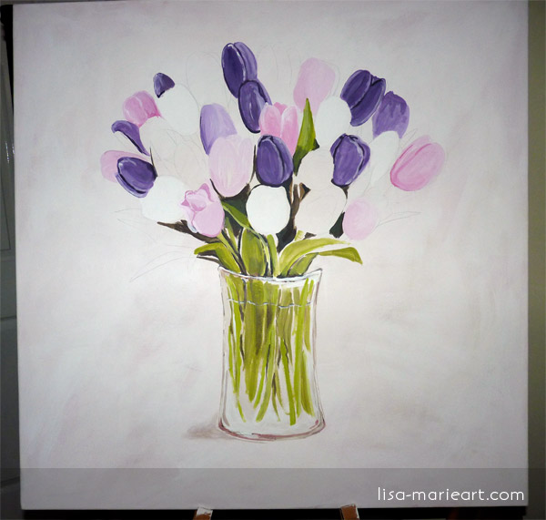 Tulips in a Glass Vase Step by Step 3