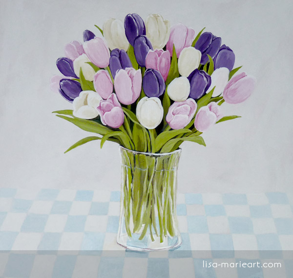 Tulips in a Glass Vase by Lisa Marie Robinson