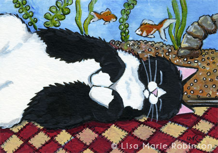 Sleeping With Fishes Cat ACEO by Lisa Marie Robinson
