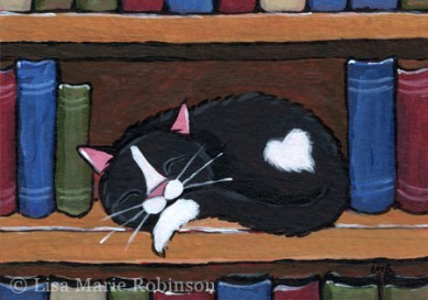 Book Love - Cat ACEO by Lisa Marie Robinson