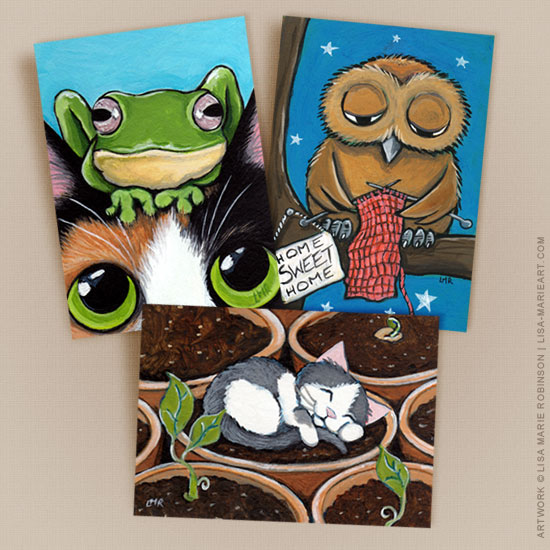 Cat and Owl ACEO prints
