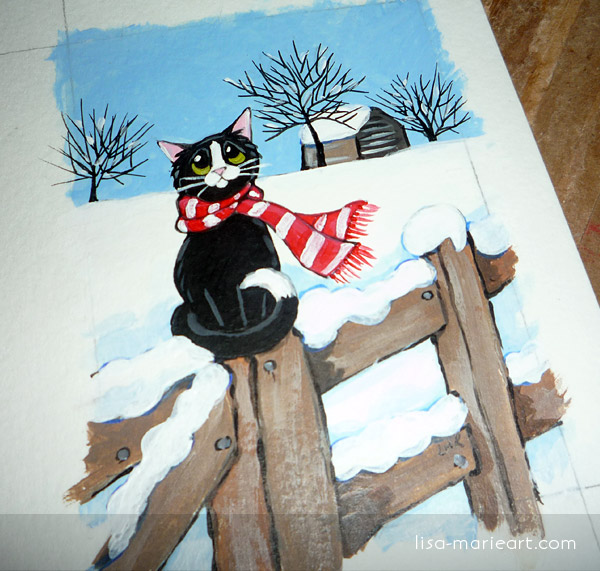 Snow Inspired Cat ACEO