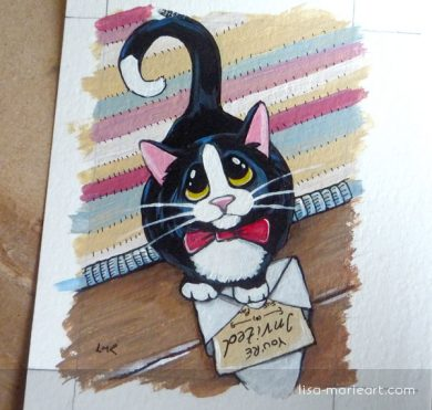 You're Invited Cat ACEO by Lisa Marie Robinson