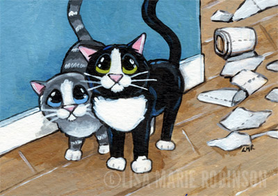 Crime Scene - Cat ACEO by Lisa Marie Robinson