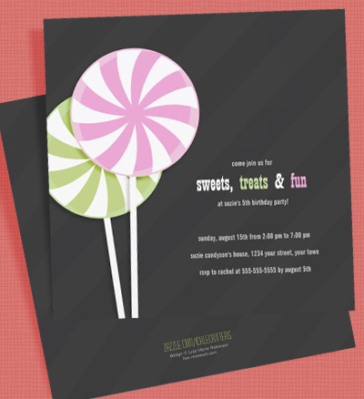 Pink & Green Lollipop Kids Party Invitations by Lisa Marie Robinson