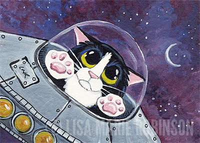 Tuxedo Cat in Space ACEO Painting by Lisa Marie Robinson