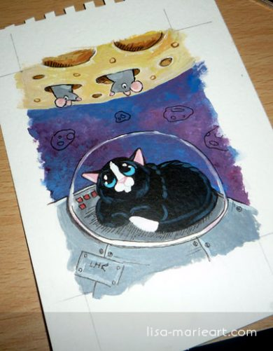 Moon Really Is Made of Cheese - Cat ACEO by Lisa Marie Robinson