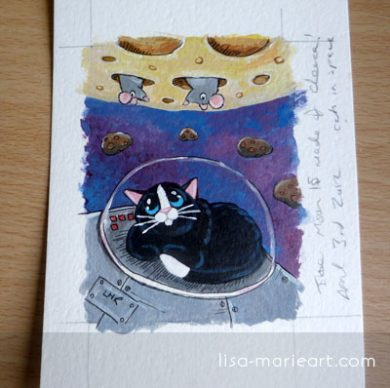 The Moon Really is made of Cheese - Finished ACEO