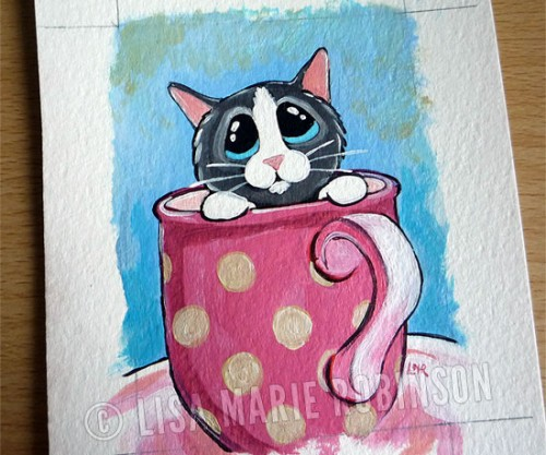 Tiny Kitten in a Mug ACEO by Lisa Marie Robinson