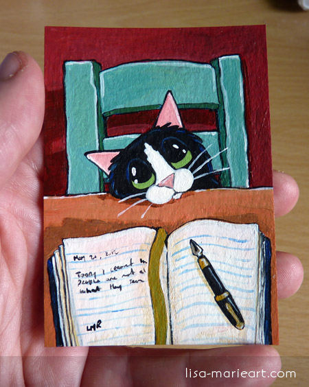 Cat ACEO - Dear Diary by Lisa Marie Robinson