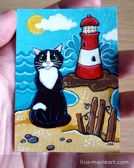 Cat ACEO - Lighthouse View