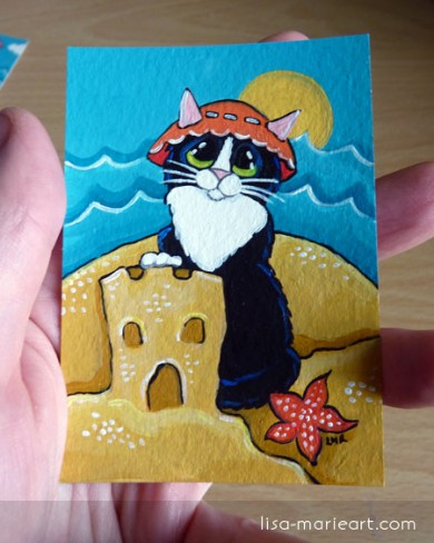 Cat ACEO - Seaside Holiday