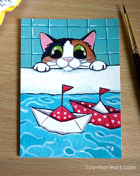 Cat ACEO Paper Sailboats