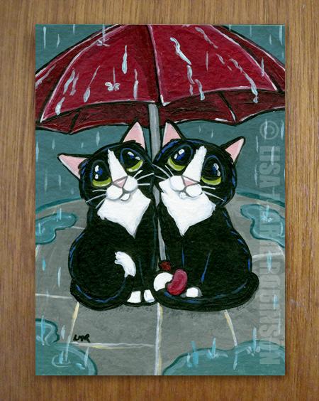Cat ACEO - Under Our Umbrella