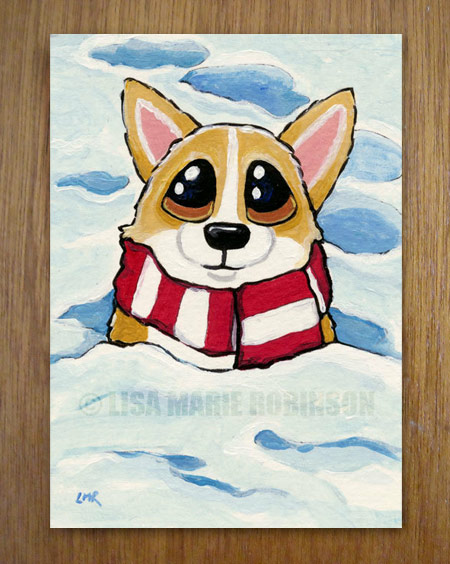 Dogs in the Snow ACEO series: Chilly Corgi