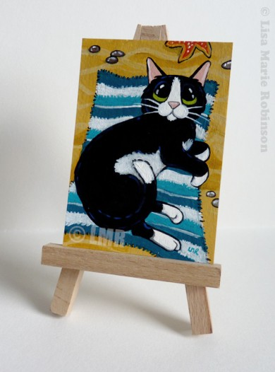 Cat ACEO - Best Spot on the Beach by Lisa Marie Robinson