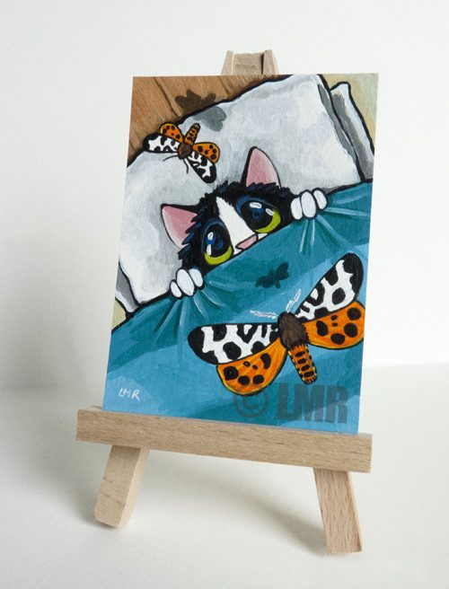 Cat ACEO: Tiger Moth Attack