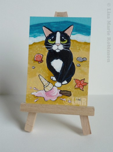 Cat ACEO - Oops Dropped it by Lisa Marie Robinson