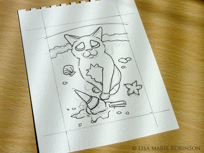 Cat ACEO - Oops Dropped it Sketch