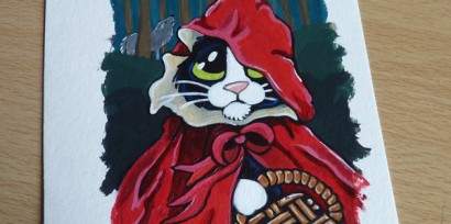 Little Red Riding Hood Cat ACEO final