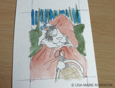 Little Red Riding Hood Cat ACEO wash