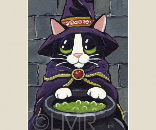 A Wizardy Brew - Halloween Cat ACEO