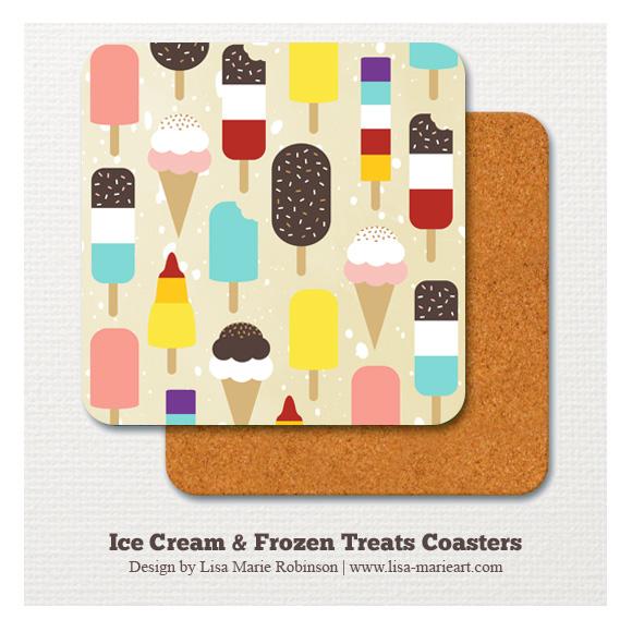 Ice Cream & Frozen Treats Coaster by Lisa Marie Robinson