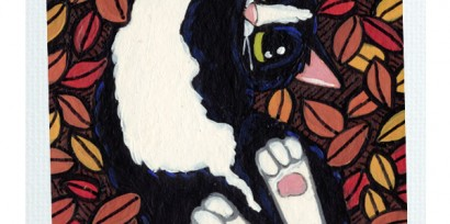 Original Cat ACEO - Autumnal Back Scratcher