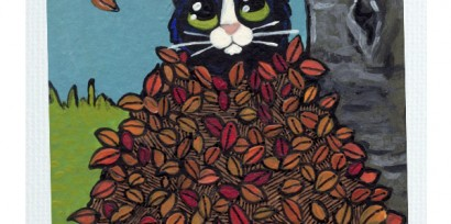 Original Cat ACEO - Fall Leaf Hideout