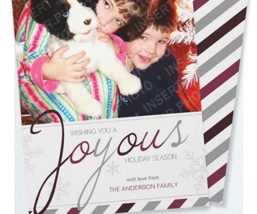 Joyous Candy Cane Holiday Photo Card