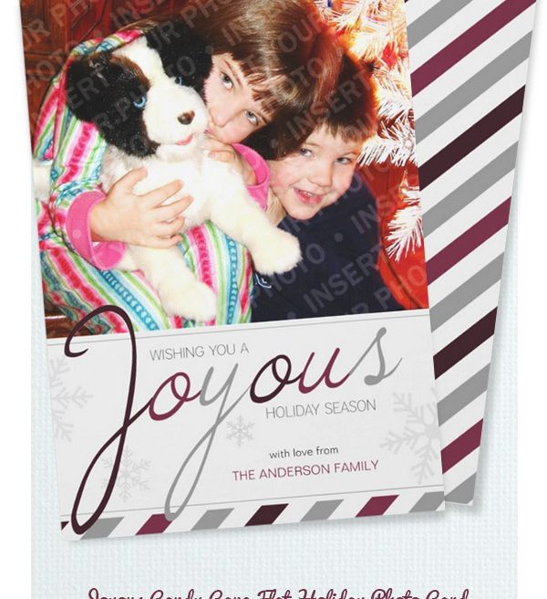 Joyous Candy Cane Holiday Photo Card