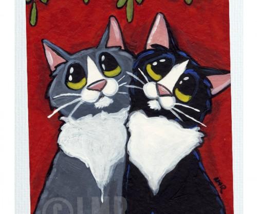 Original Cat ACEO - Under the Mistletoe
