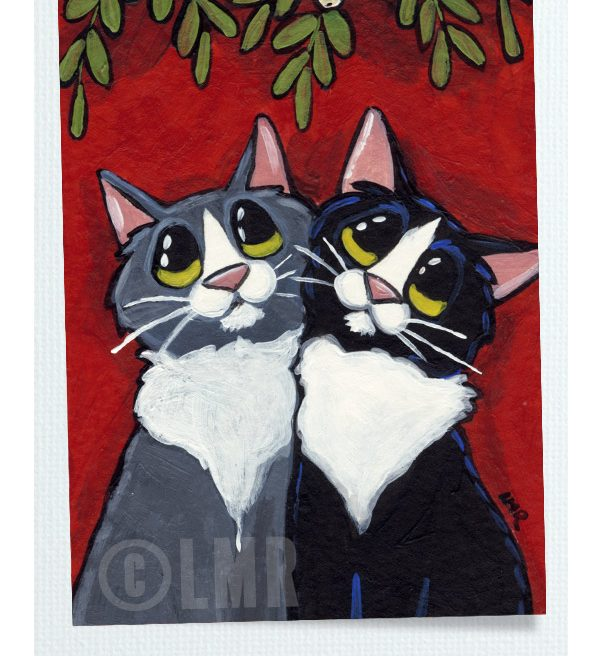 Original Cat ACEO - Under the Mistletoe