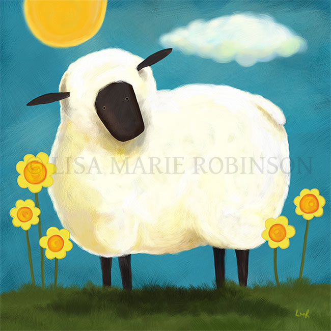 Fluffy Sheep and Yellow Flowers Art Print