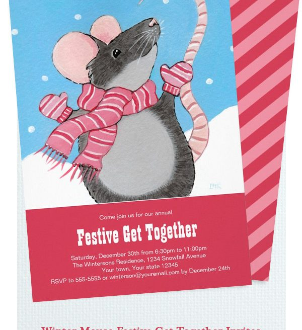Winter Mouse Festive Get Together Invitations