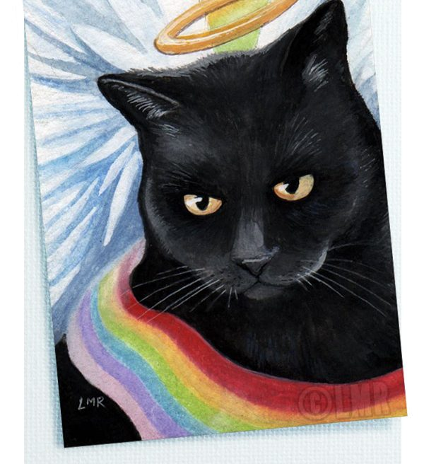 Rainbows End Angel Cat Note Card