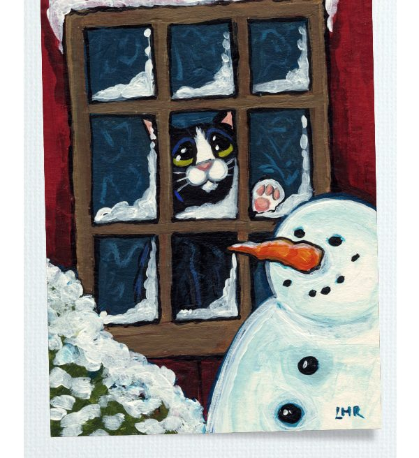 Too Cold to Go Outside - Original Cat ACEO by Lisa Marie Robinson