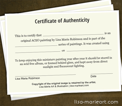 New Certificate of Authenticity for ACEO