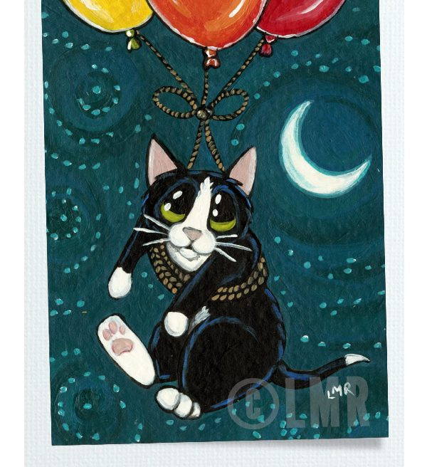 Original Cat ACEO - Balloon Flight to the Moon by Lisa Marie Robinson