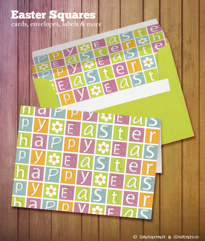 Happy Easter Cad & Envelope by Lisa Marie Robinson