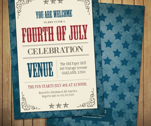 Vintage Fourth of July Celebration Invitations by Lisa Marie Robinson