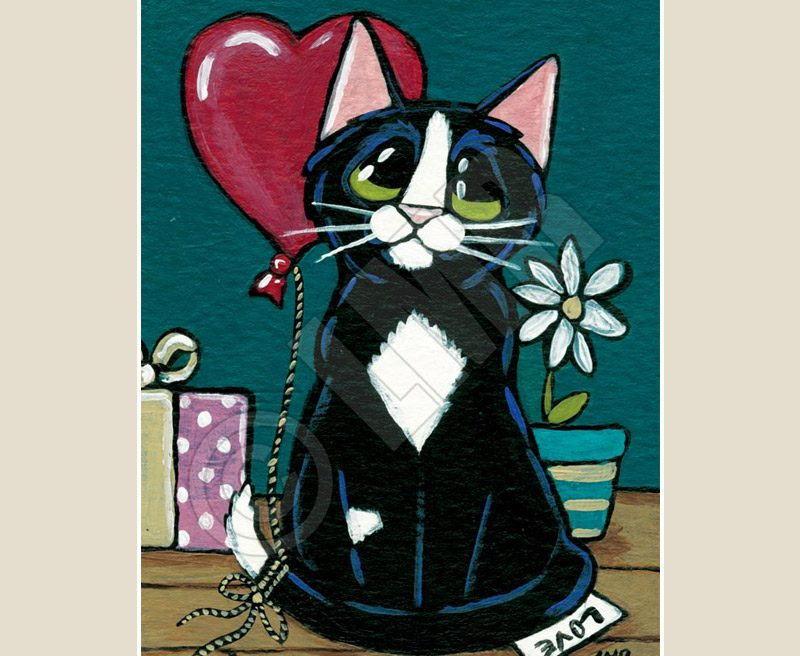 Tuxedo Cat ACEO by Lisa Marie Robinson