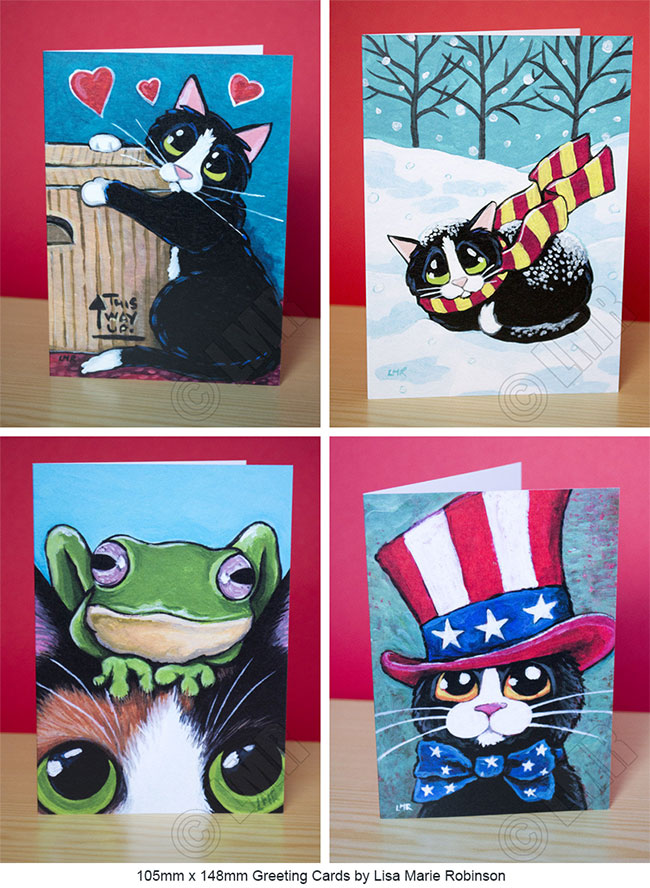Cat Art Greeting Cards by Lisa Marie Robinson