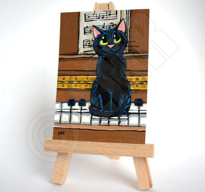 Orignal Cat ACEO - Ebony on the Ivories